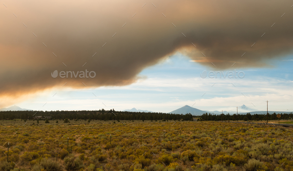 Dramatic Sky Wildfire Smoke Sunset Three Sisters - Stock Photo - Images