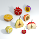 Low Poly Fruits Half