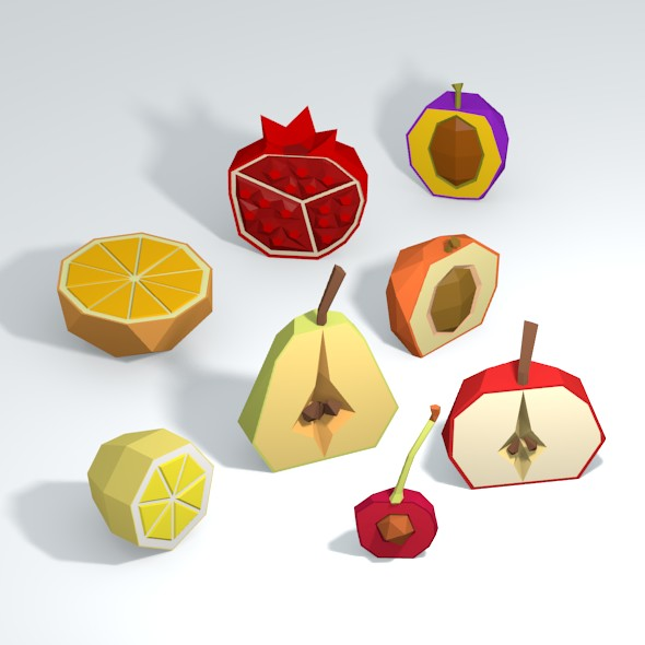 Low Poly Fruits Half - 3DOcean Item for Sale