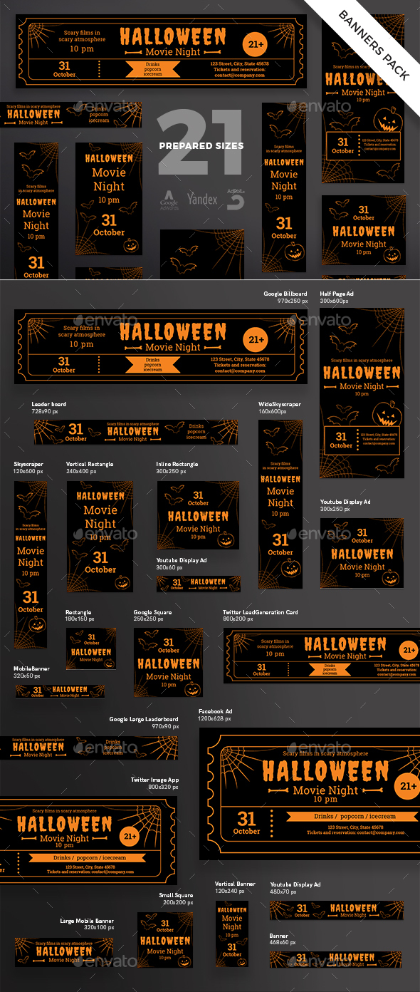 Halloween Banner Pack - Banners & Ads Web Elements