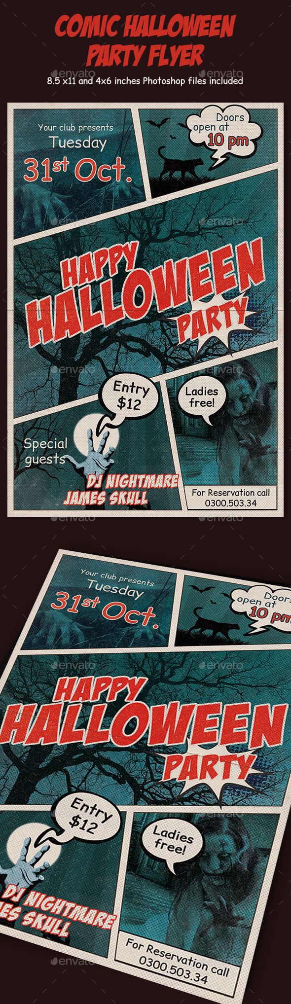 Comic Halloween Party Flyer - Events Flyers