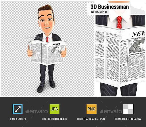 3D Businessman Newspaper - Characters 3D Renders