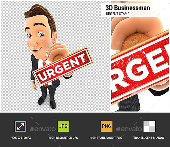 3D Businessman Urgent Stamp - Characters 3D Renders