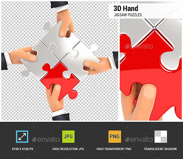 3D Hands Assembling Jigsaw Puzzles - Characters 3D Renders