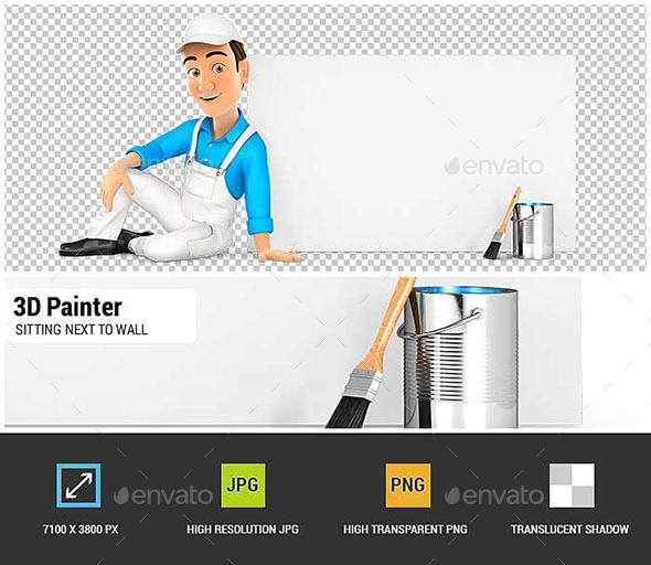 3D Painter Sitting Next to Blank Wall - Characters 3D Renders