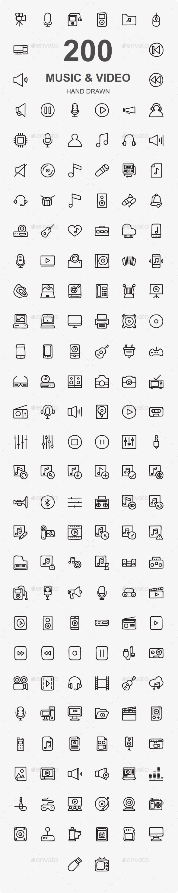 Music Audio And Video Hand Drawn icons - Media Icons
