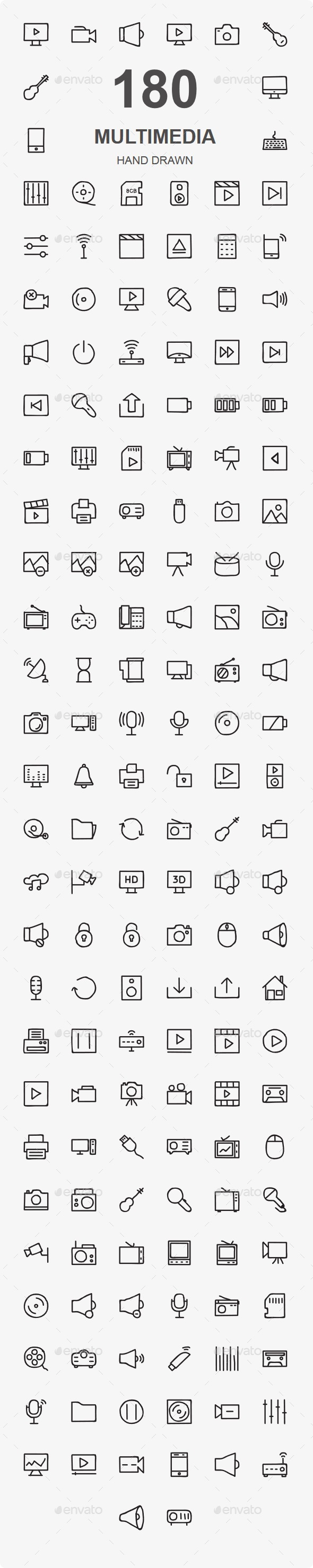 150+ Multimedia Hand Drawn - Media Icons