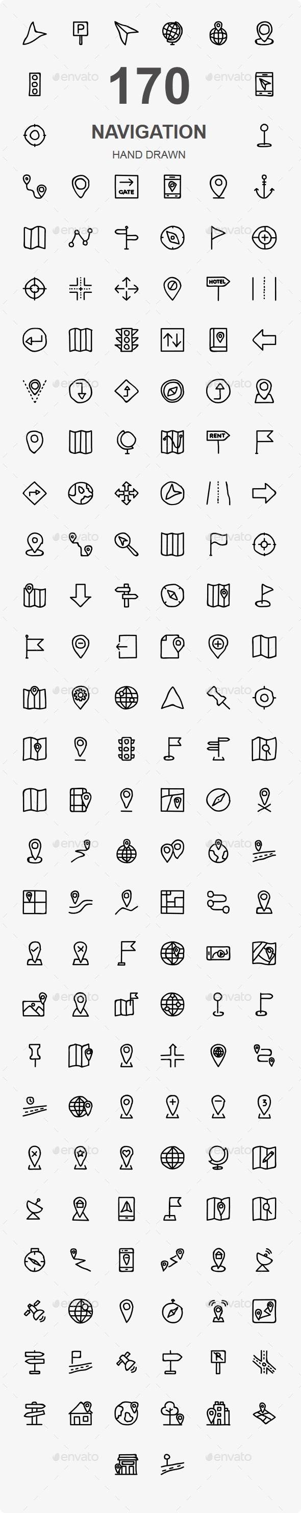 Map and Navigation Hand Drawn - Web Icons