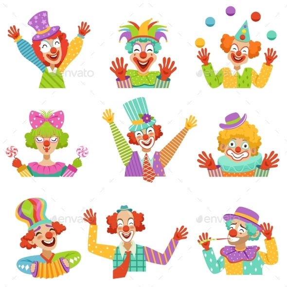 GraphicRiver Cartoon Friendly Clowns Character Colorful 20600466