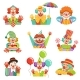 Cartoon Friendly Clowns Character Colorful