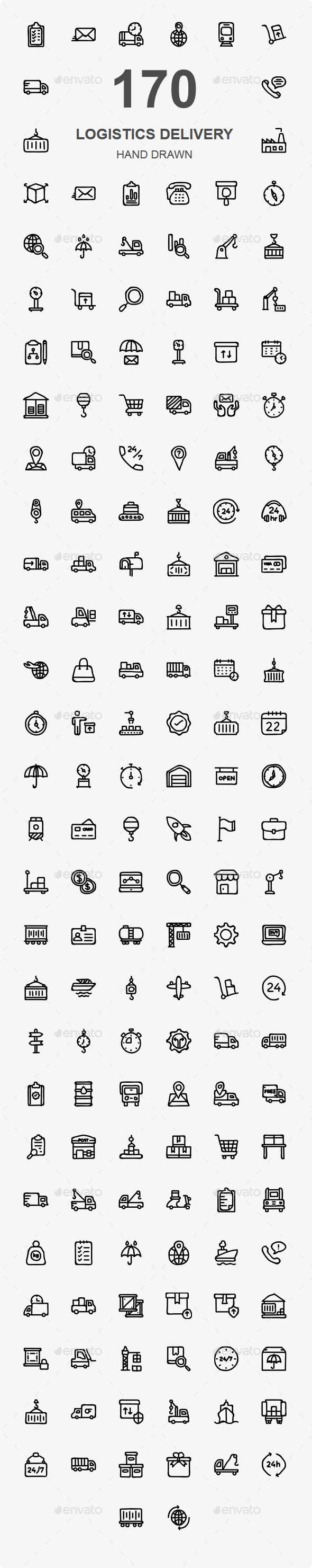 170 Logistic Delivery Hand Drawn icons - Business Icons