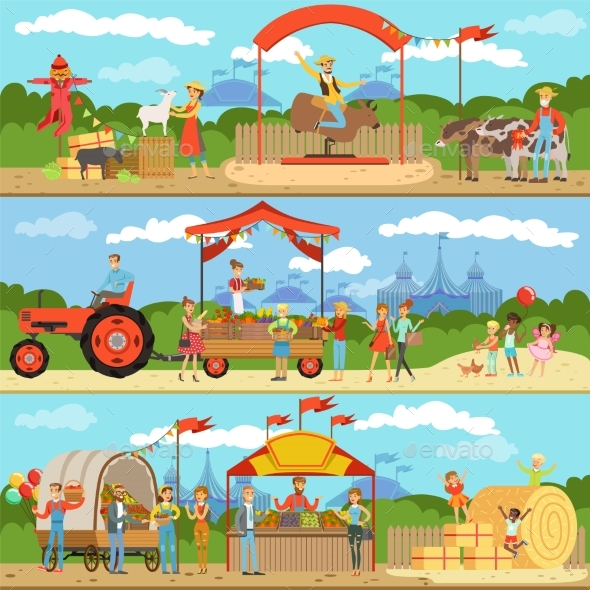 GraphicRiver Agriculture and Farming Horizontal Banners Set 20600505