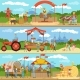 Agriculture and Farming Horizontal Banners Set
