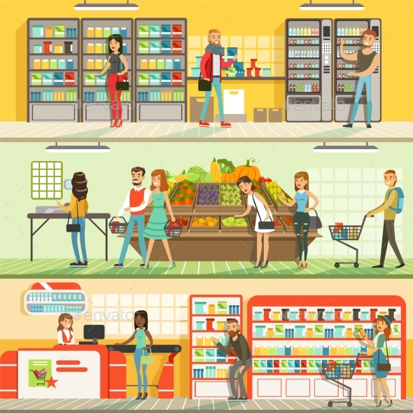 GraphicRiver People in Supermarket Horizontal Colorful Banners 20600590