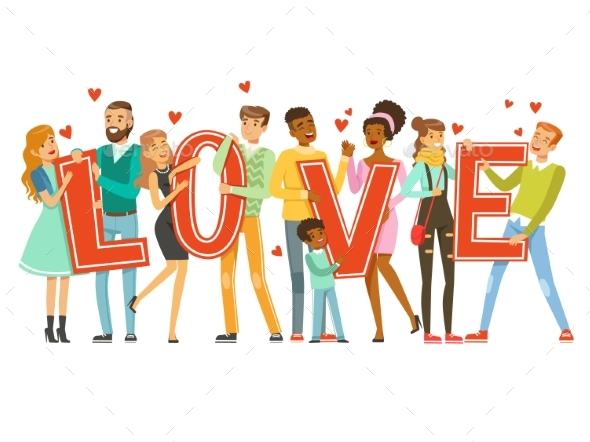 Group of Smiling People Holding the Word Love - People Characters