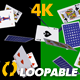 Poker Cards - Flying Around - Horizontal Cycle - 4K - VideoHive Item for Sale