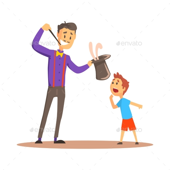 Magician Pulling Out a Rabbit From His Top Hat - People Characters