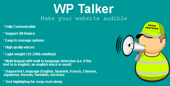CodeCanyon WP Talker Make your wordpress audible 20568848