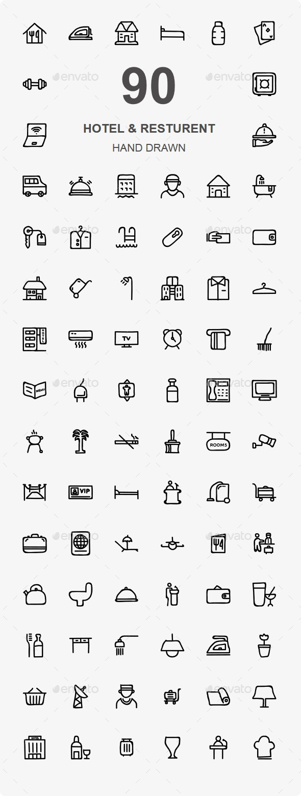 80+ Hotel & Resturent Hand Drawn - Food Objects