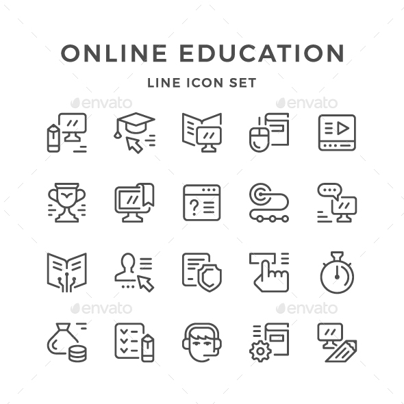 Set Line Icons of Online Education - Man-made objects Objects