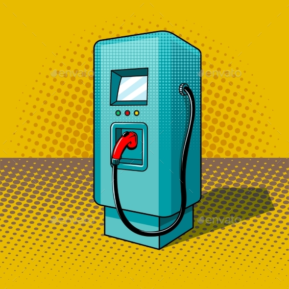 Fueling for Electric Vehicles Pop Art Style Vector
