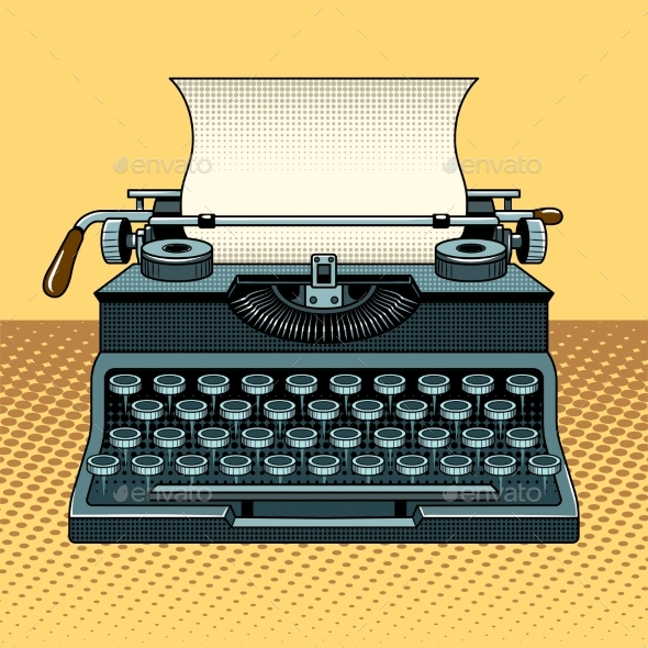 GraphicRiver Vintage Mechanic Typewriter Pop Art Style 20601230