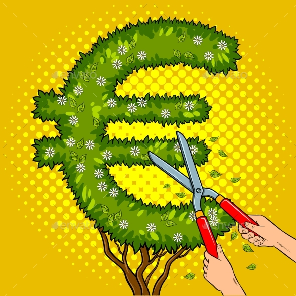 GraphicRiver Bush in the Form of Euro Sign Pop Art Vector 20601233