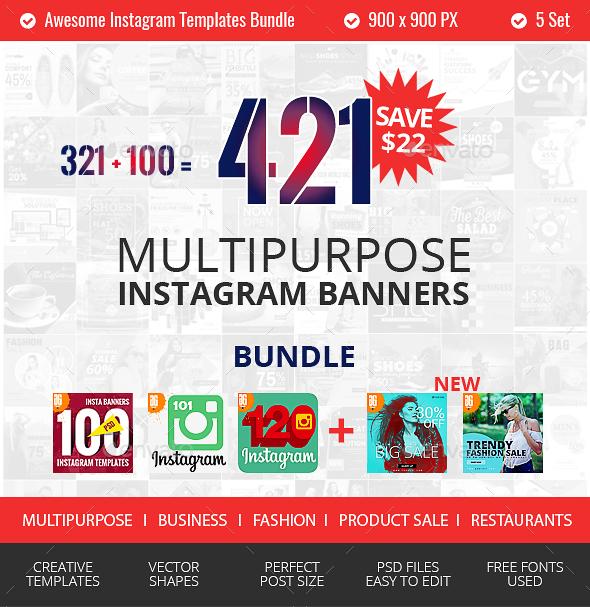 321 Instagram Promotional Bundle - Social Media Web Elements