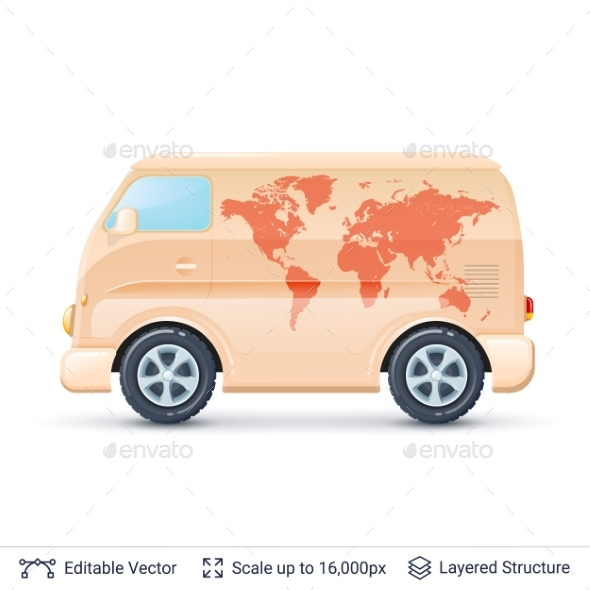 GraphicRiver Classic Bus with Map 20601739
