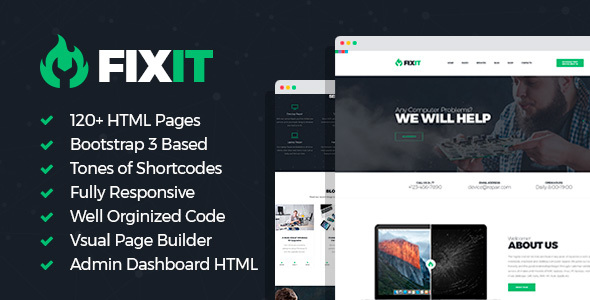 FixIt - Electronics Repair HTML Template with Builder and Dashboard Frontend
