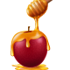 Wooden Honey Dipper and Apple