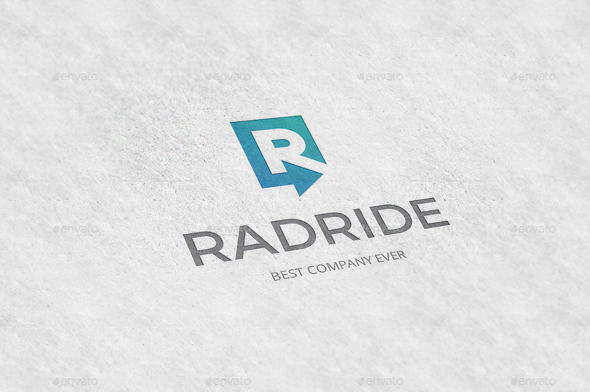 radride letter r arrow logo template by tovarkov