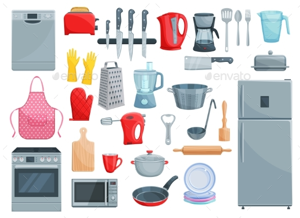 Kitchen Appliances and Dishware Vector Icons Set - Man-made Objects Objects