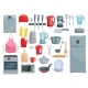 Kitchen Appliances and Dishware Vector Icons Set