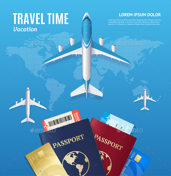 GraphicRiver Travel Time Concept with Passport and Boarding Pass 20602736