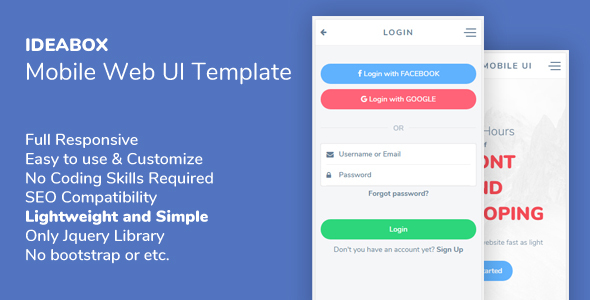 Ideabox - Mobile Web UI Template - Mobile Site Templates
