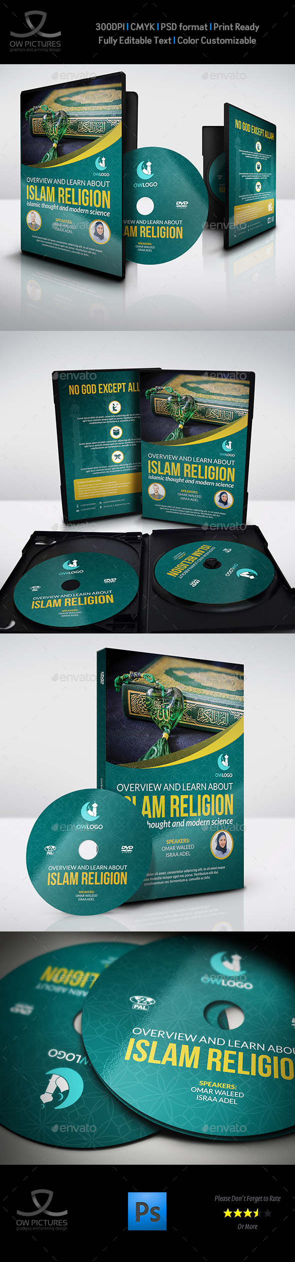 Islamic DVD Cover and Label Template - CD & DVD Artwork Print Templates