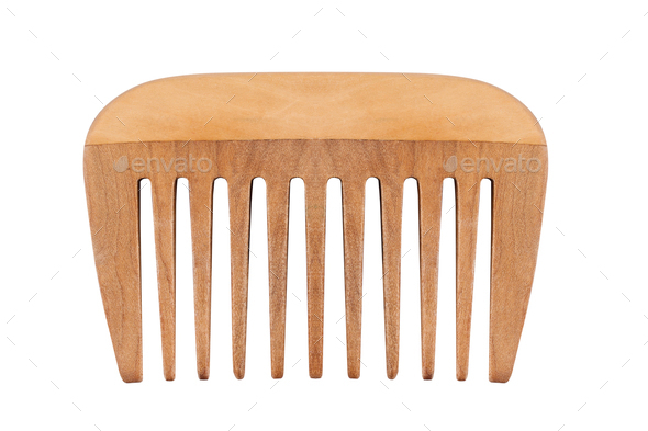 small wooden comb isolated on white - Stock Photo - Images