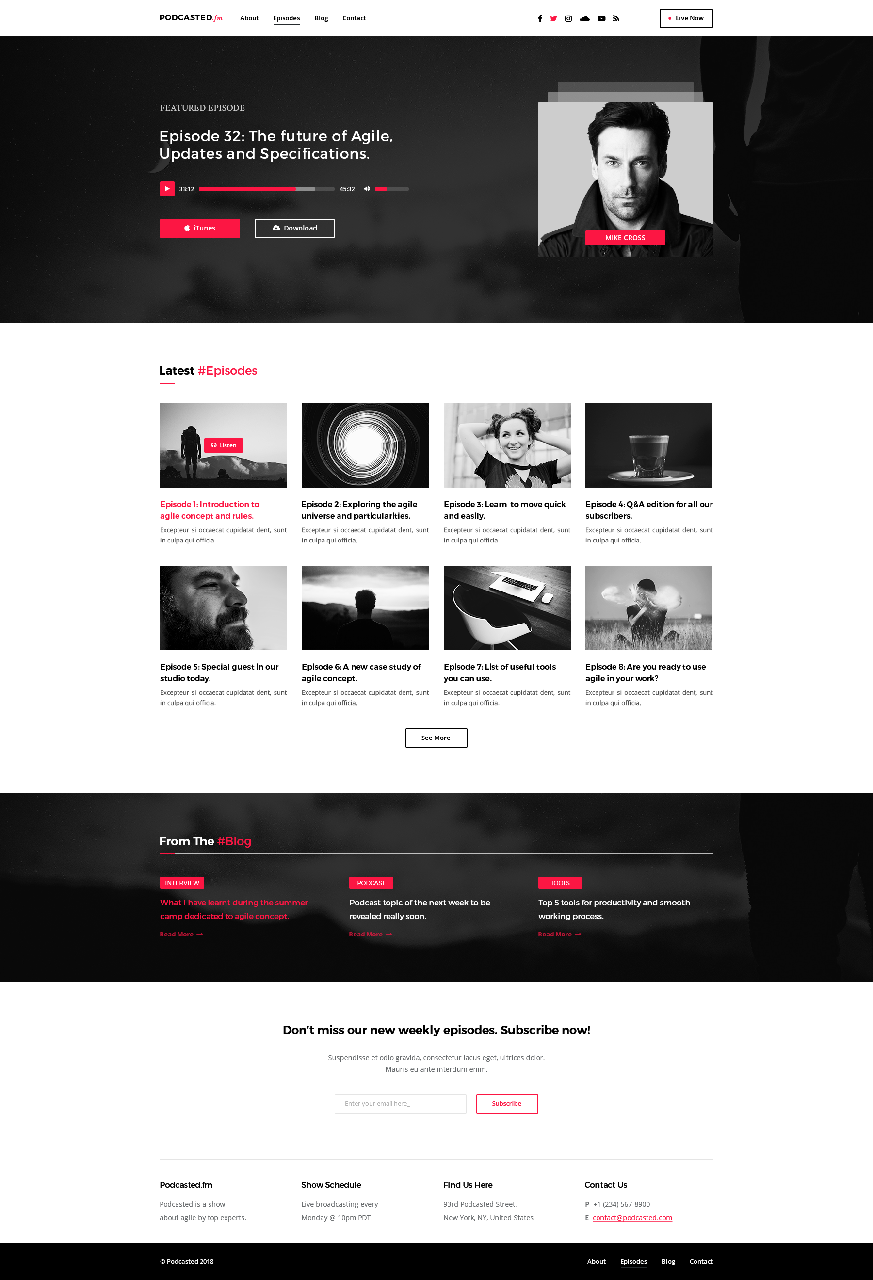 podcasted podcast psd template by clusterthemes themeforest. Black Bedroom Furniture Sets. Home Design Ideas