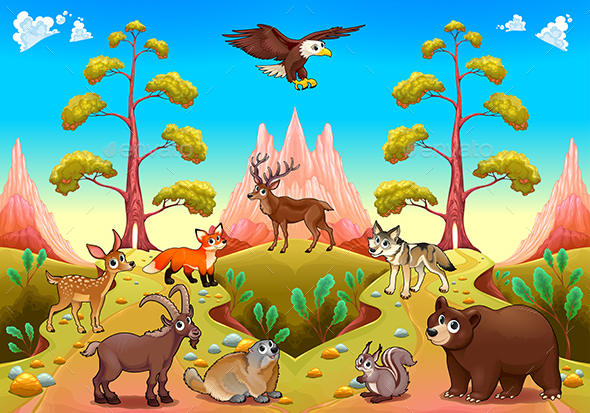 Mountain Animals in the Nature - Animals Characters