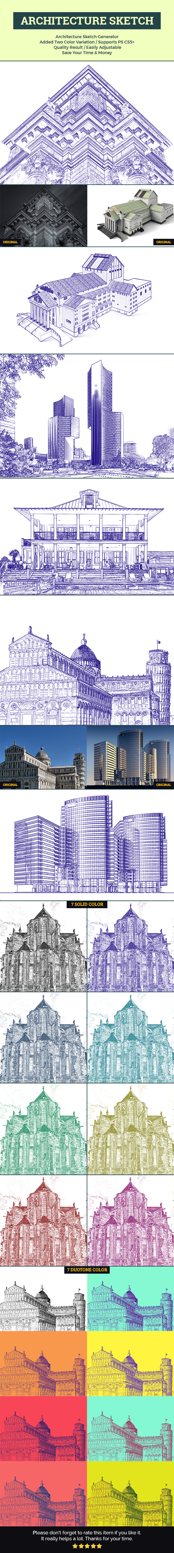 Architecture Sketch - Photo Effects Actions