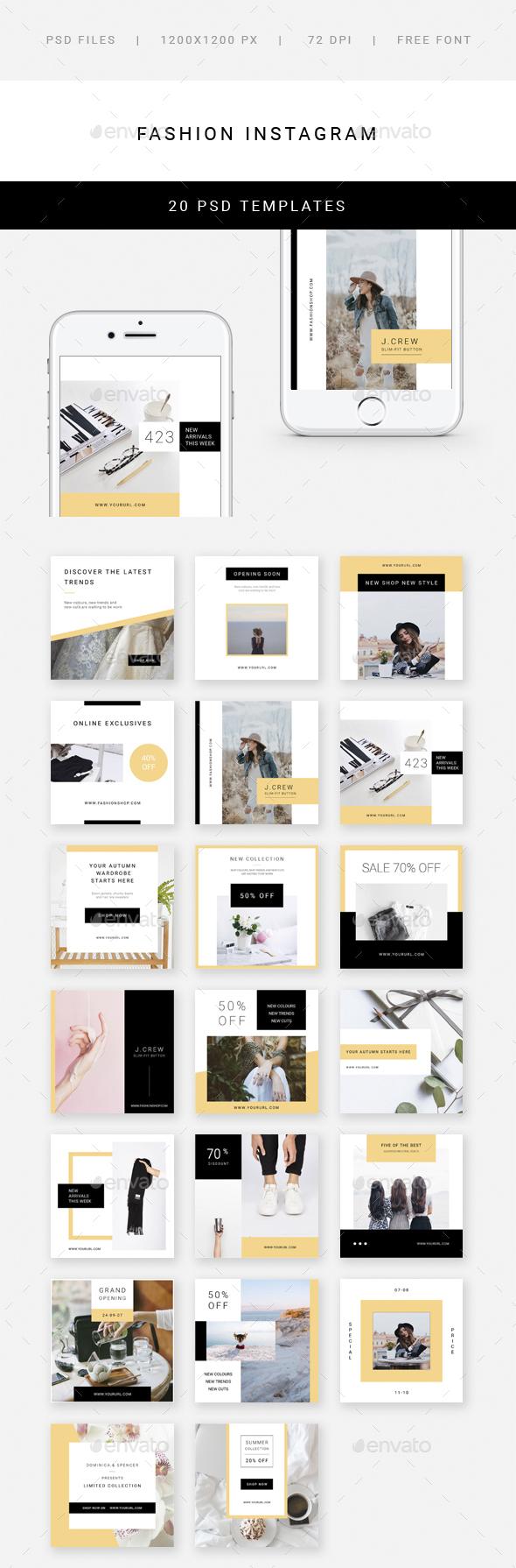 Fashion Instagram - 20 Designs - Social Media Web Elements
