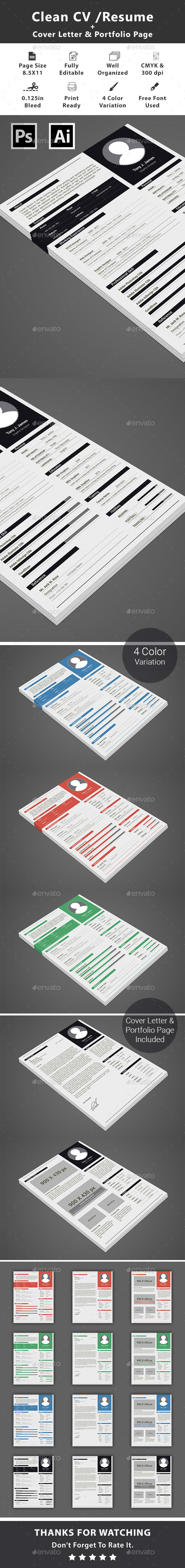 GraphicRiver Clean CV Resume 20603665