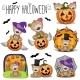 Halloween Set with Cartoon Teddy Bears