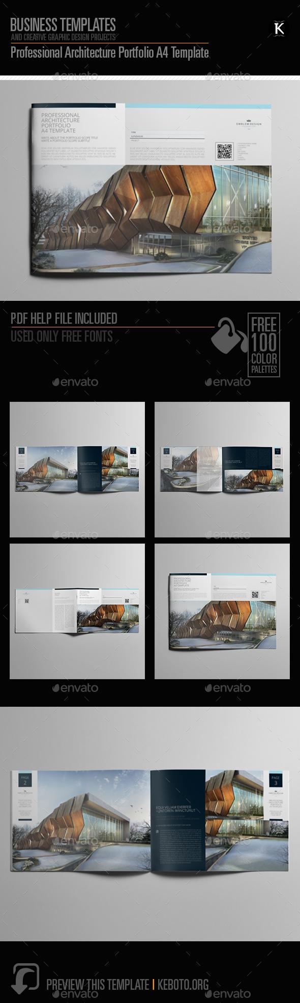 Professional Architecture Portfolio A4 Template - Portfolio Brochures