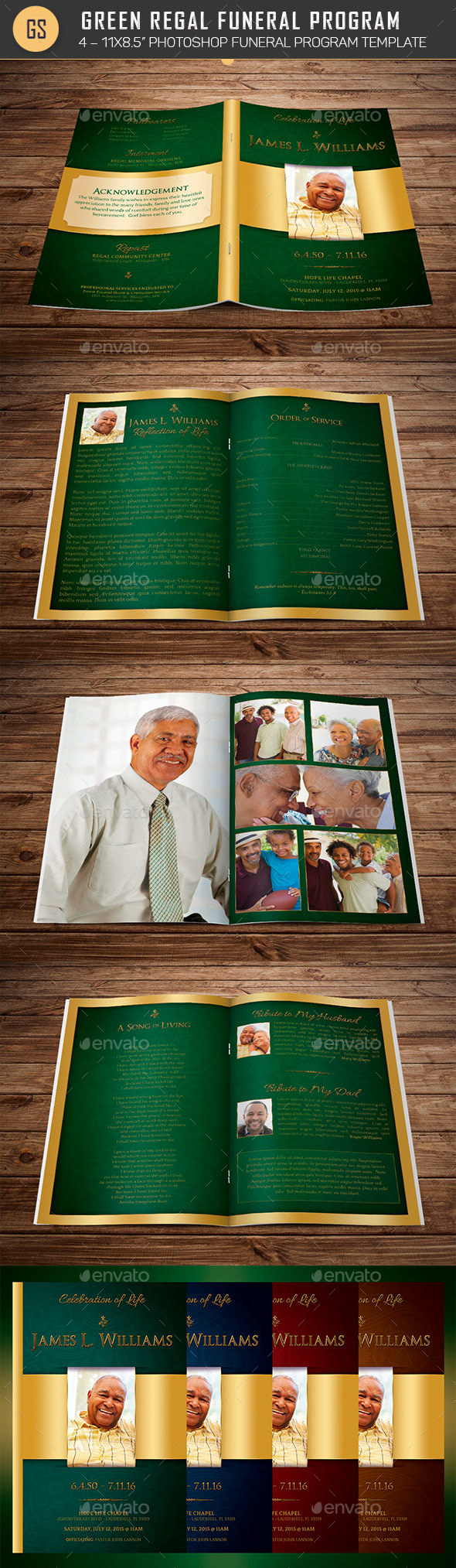 GraphicRiver Green Regal Funeral Program Template 20604577