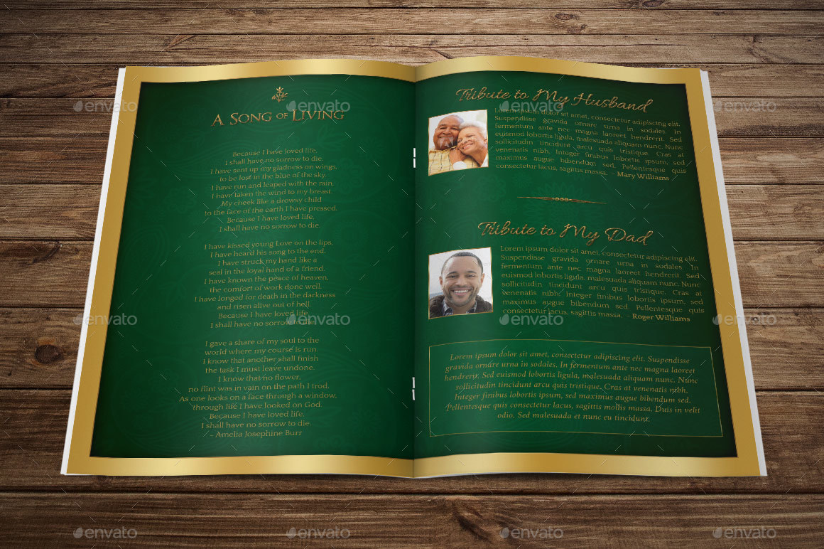 green regal funeral program template by godserv2
