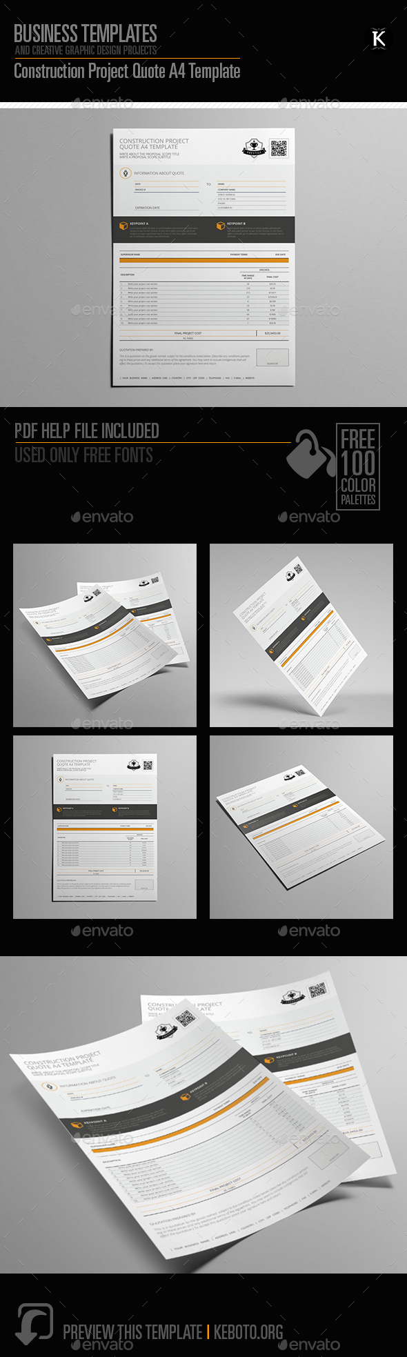 Construction Project Quote A4 Template - Miscellaneous Print Templates