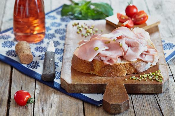 Bread And Mortadella - Stock Photo - Images