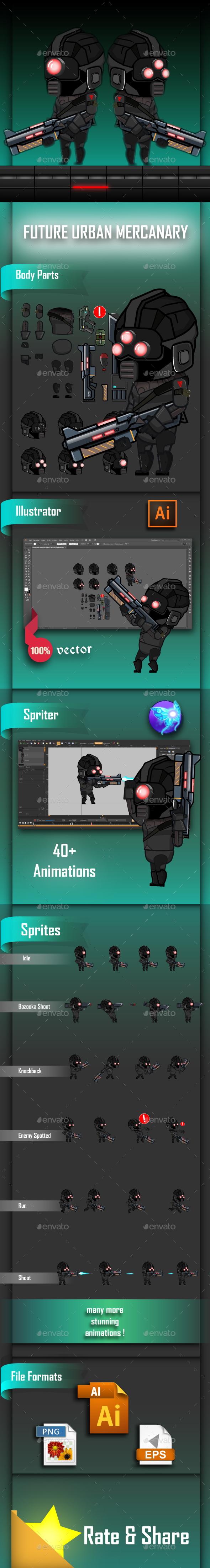 Future Urban Mercenary Game Character Sprites - Sprites Game Assets